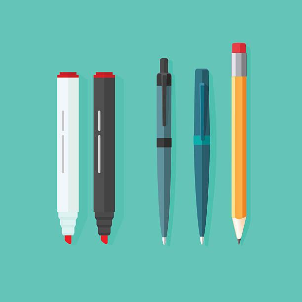 pióra, ołówki, znaczników wektor zestaw odizolowane na zielone tło - pióro przyrząd do pisania stock illustrations
