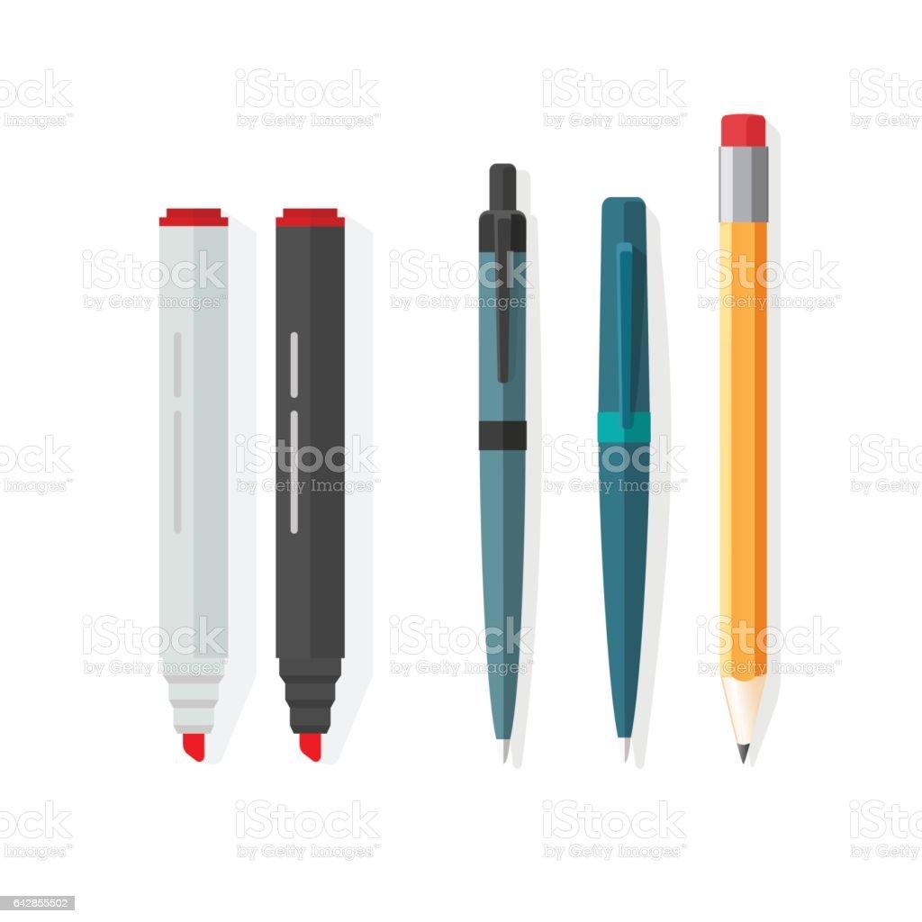 Pens, pencils, markers vector, dot biro pen with red rubber eraser, pencil vector art illustration