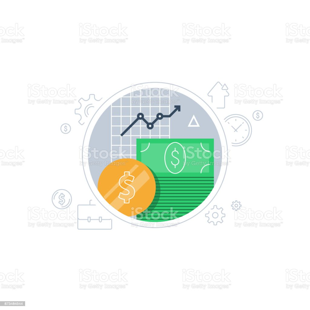 Pension fund, banking services, financial investment, budget plan, finance report, income growth, retirement savings vector art illustration