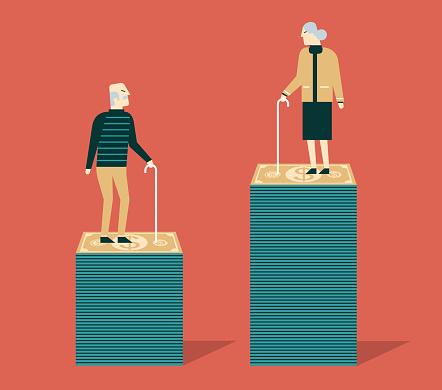 Pension fund. Grandma and grandpa