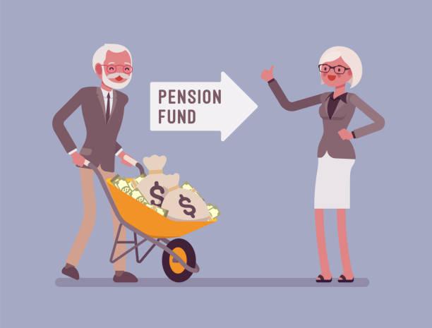 stockillustraties, clipart, cartoons en iconen met pension fund investeringen - woman very rich