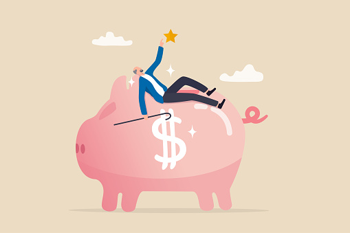 Pension plan for senior retiree, retirement savings fund, IRA, Roth or 401K, wealth management for elderly concept, happy elderly old man relax lay down on wealthy piggy bank pension fund.