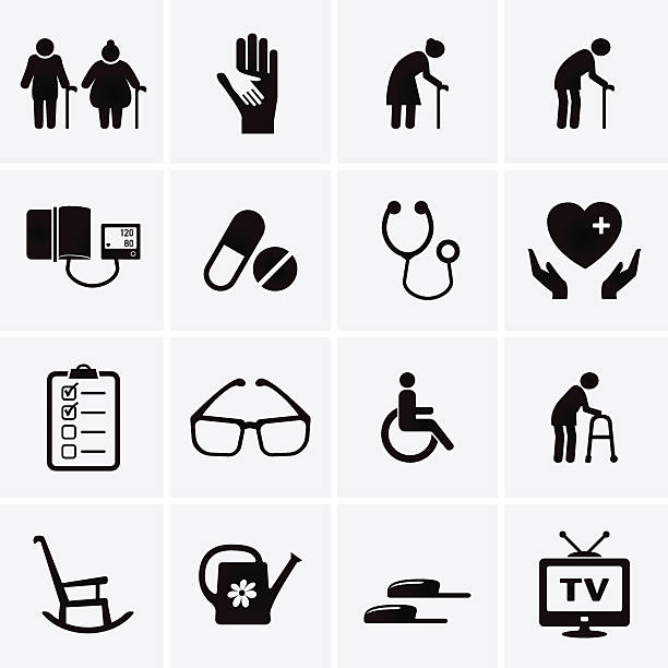 pensioner and elderly care icons - old man glasses silhouettes stock illustrations, clip art, cartoons, & icons