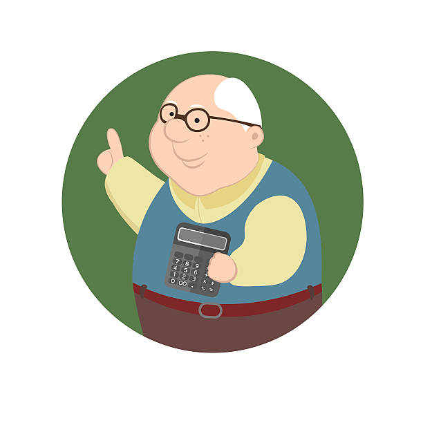 pensioner considers come and expenses using a calculator - old man portrait clip art stock illustrations, clip art, cartoons, & icons