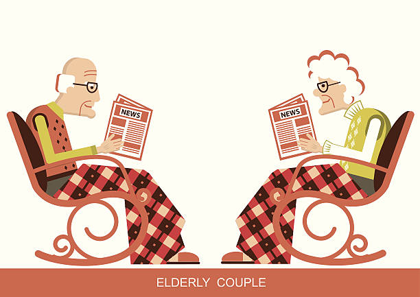 pensioner in chair sitting and reading newspaper - old man in rocking chair cartoons stock illustrations, clip art, cartoons, & icons