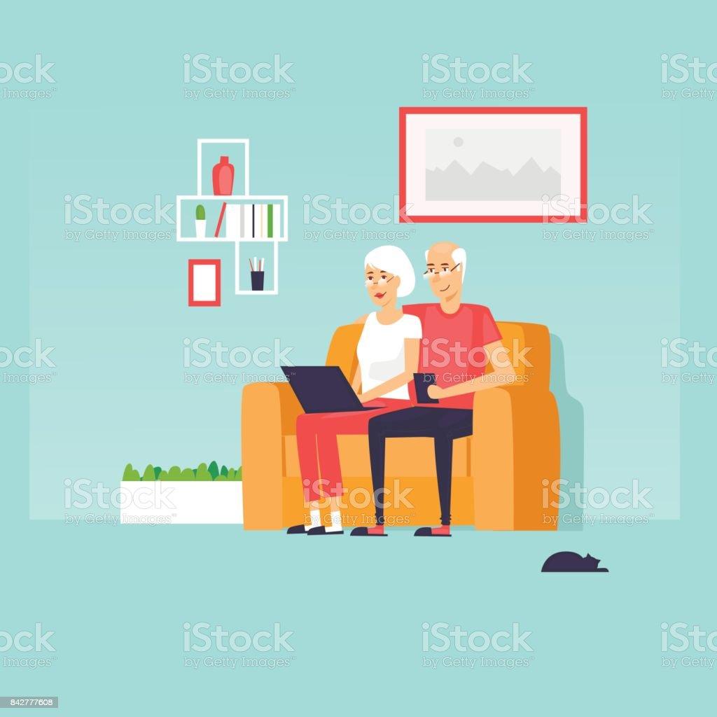 Os reformados estão sentados na Internet. Ilustração em vetor design plano. - ilustração de arte em vetor