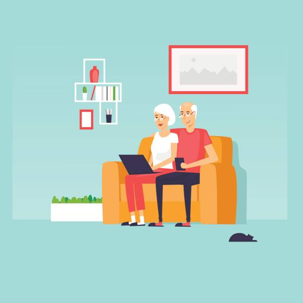 pensioners are sitting on the internet. flat design vector illustration. - old man computer silhouette stock illustrations, clip art, cartoons, & icons