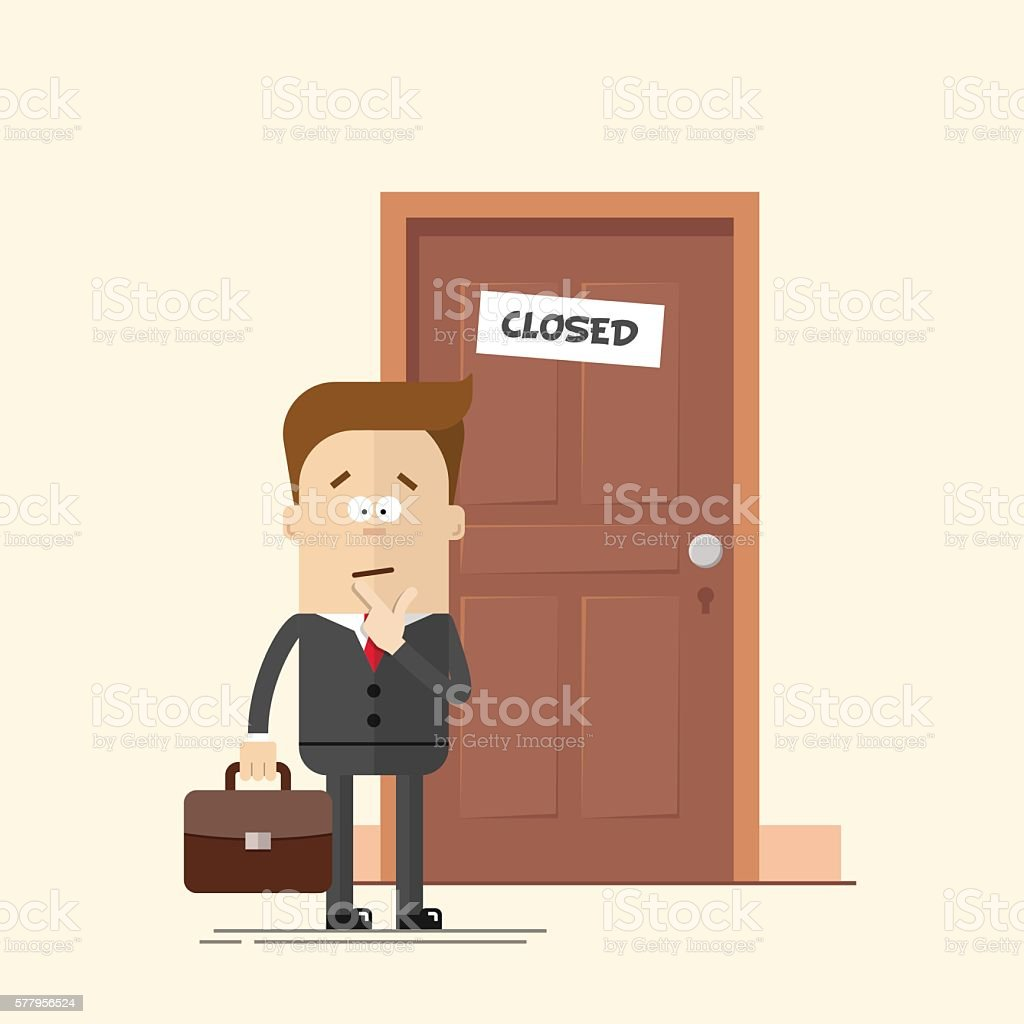 Pensive businessman or manager standing in front of a closed – Vektorgrafik