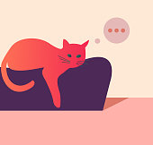 A pensive cat lies at home on the couch. Vector illustration in a modern, minimalist style
