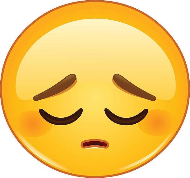 nachdenklich emoticon - trauriges emoji stock-grafiken, -clipart, -cartoons und -symbole