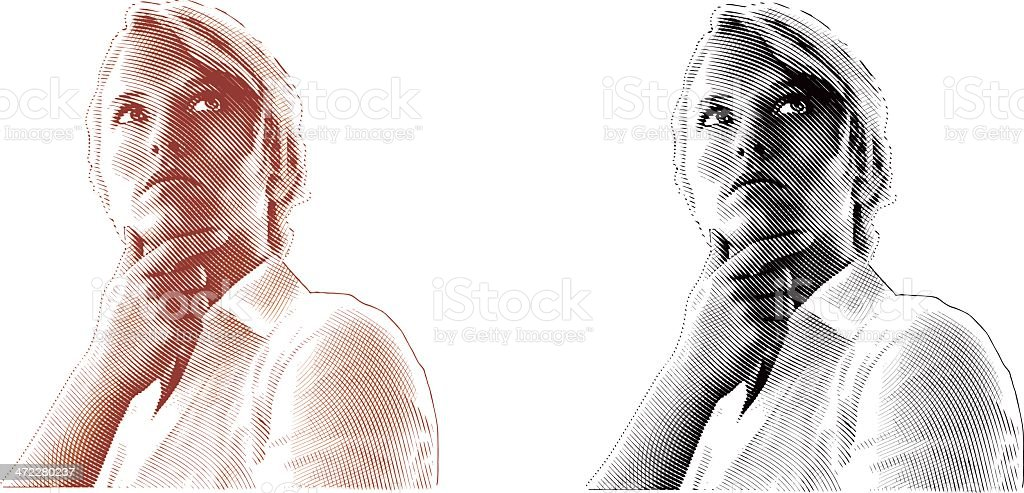 Pensive Woman Engraving royalty-free stock vector art