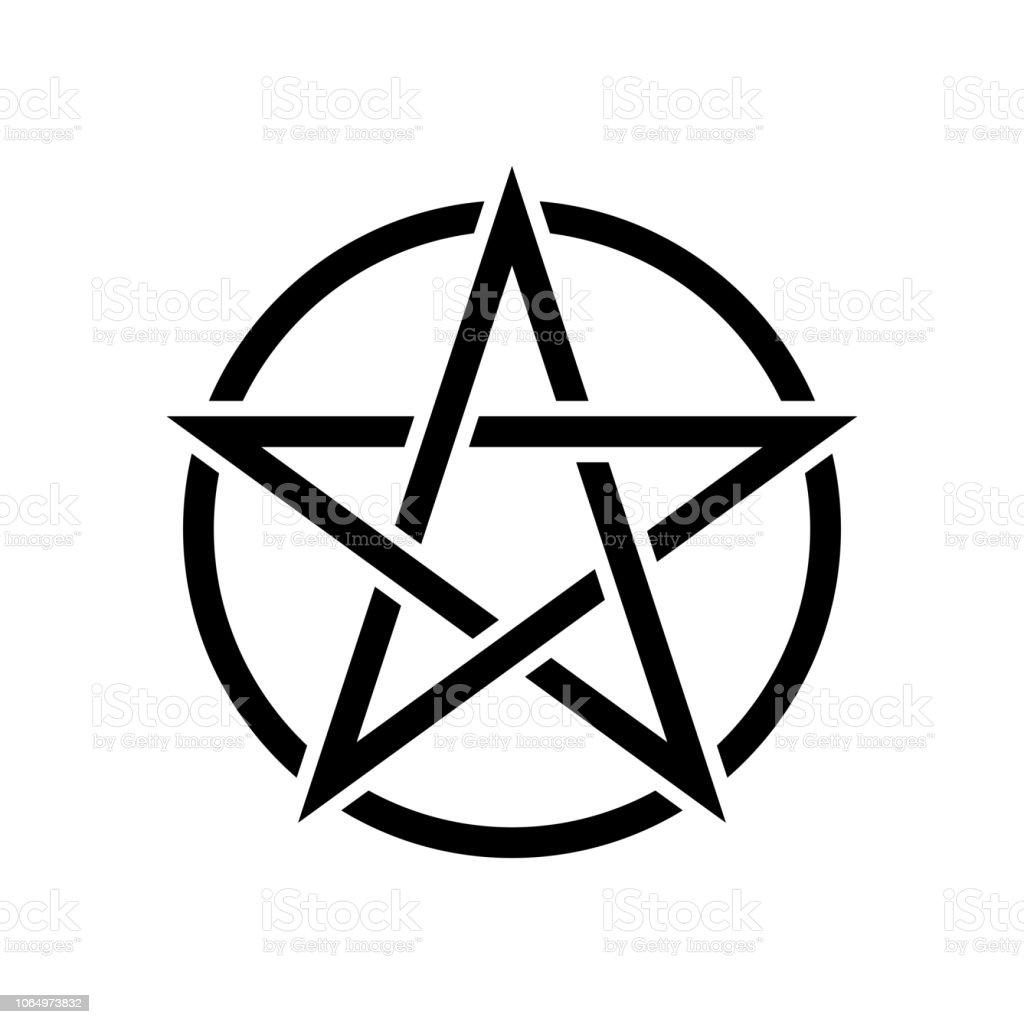Pentagramm Magische Zeichen Weißem Hintergrund Stock Vektor Art Und