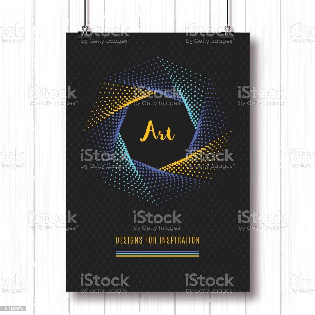 Pentagon halftone pattern Geometric polygonal posters A4 Colorfull  shapes 3 vector art illustration