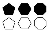 Pentagon, hexagon, octagon icon. Vector geometry polygon.