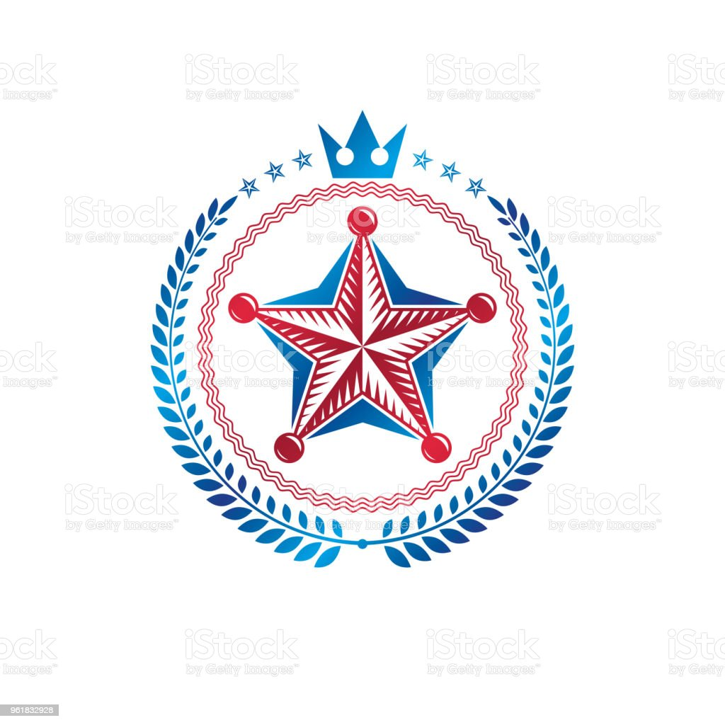 Pentagonal Star Emblem Union Theme Symbol Created With Royal Crown
