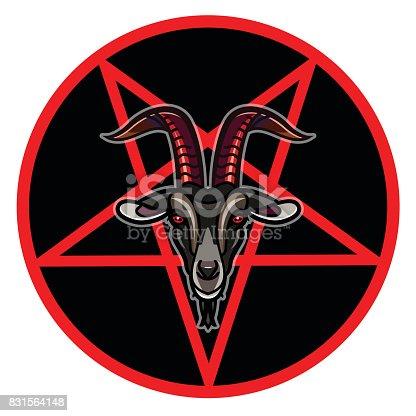 Pentagram with demon Baphomet. Satanic goat head