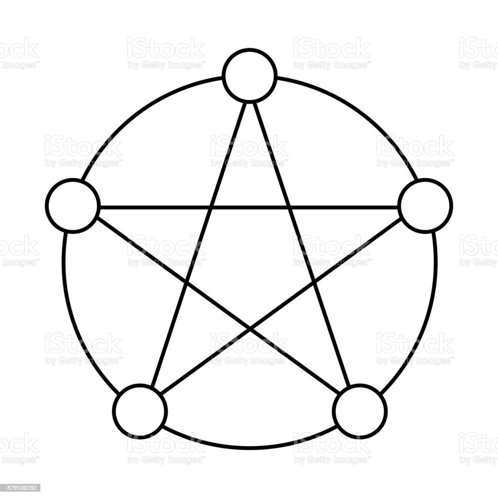 Pentagram with five elements flat outine icon symbol design vector pentagram with five elements flat outine icon symbol design vector illustration isolated on white background biocorpaavc Choice Image