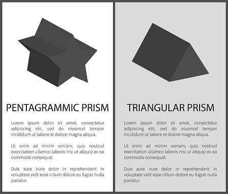 Pentagrammic and Triangular Prism Solid Figures