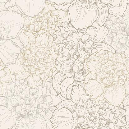 Peonies pattern in soft beige seamless