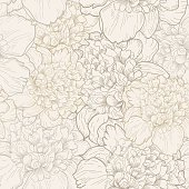 Seamless vector background with beautiful pattern of peonies.