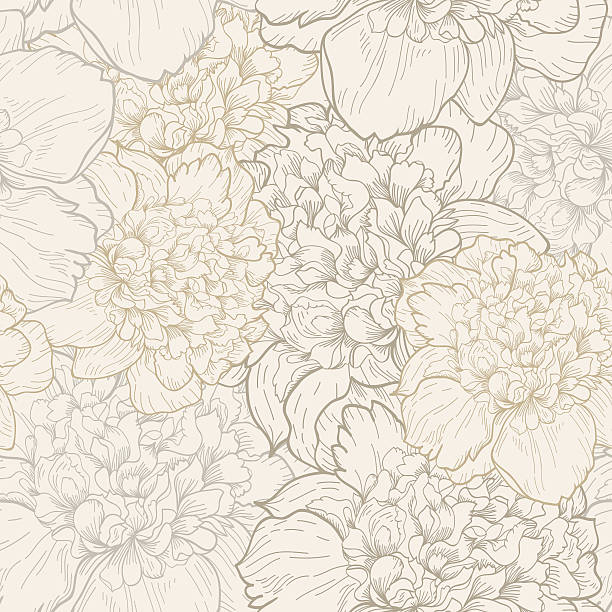 Peonies pattern in soft beige seamless vector art illustration