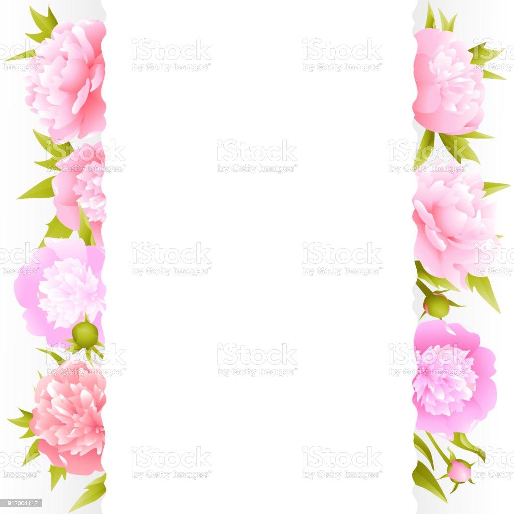 Peonies Pink Flowers Flower Pattern Frame Border Vector Illustration ...