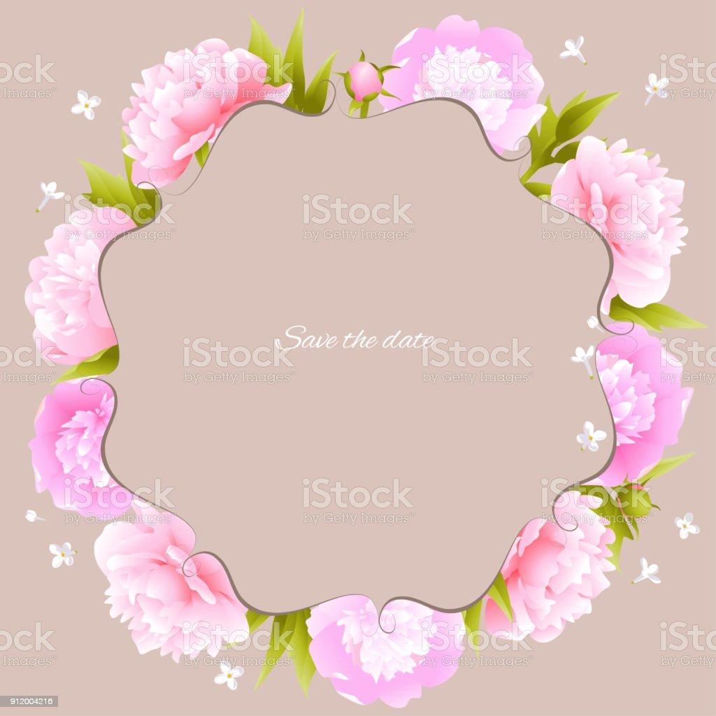 Peonies Pink Flowers Flower Pattern Frame Border Vector Illustration