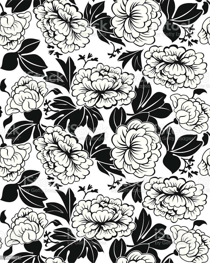peonies seamless black and white royalty-free stock vector art