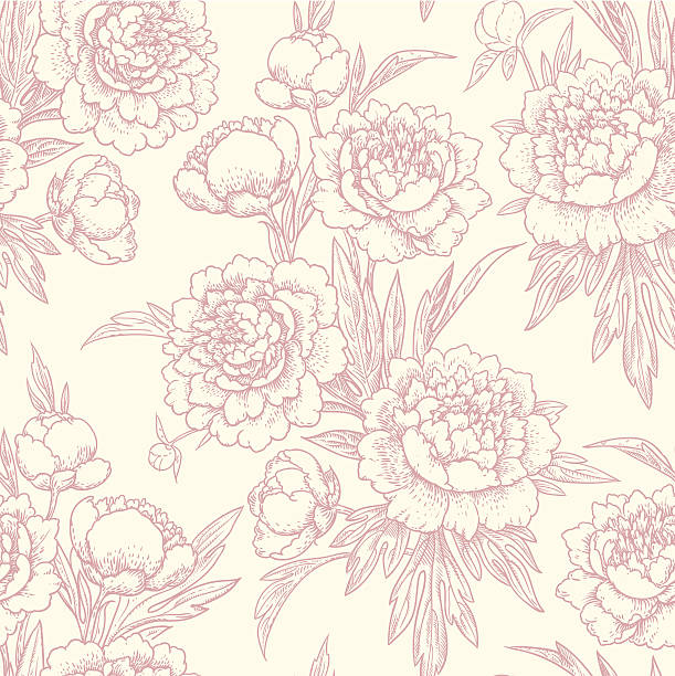 peonies seamless pattern. - floral pattern stock illustrations, clip art, cartoons, & icons