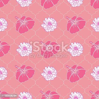 Seamless floral pattern on pink quatrefoil background