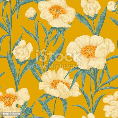istock Peony Claire de Lune plants seamless pattern. Hand drawn vector illustration. Realistic botanical background. Wildflowers retro sketch. Colored vintage design, print, fabric, textile, wrap, wallpaper. 1288715523