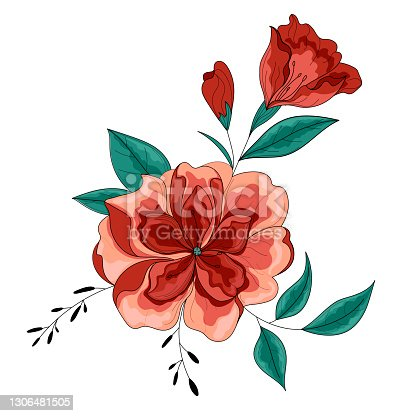 istock Peony flower, botanical flower. Bright, beautiful vector flower. 1306481505