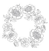 peony flower wreath vector illustration. line sketch hand drawn floral pattern for card, wedding invitation, surface design