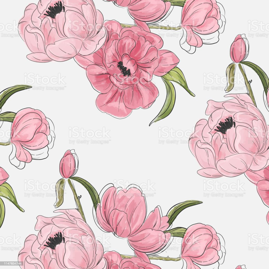 Peony Flowers Botanical Pattern Vintage Nature Fabrics Decoration