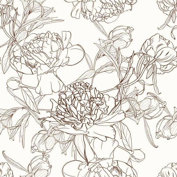 peony flowers seamless pattern texture. brown sepia outline on beige background. blooming spring summer line flowers illustration. vector design illustration for fashion, decoration, fabric, textile. - spring fashion stock illustrations, clip art, cartoons, & icons