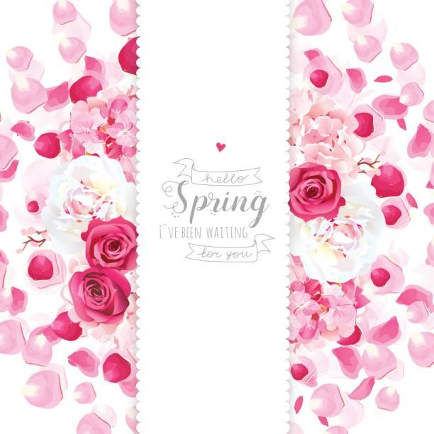 牡丹、アジサイ、バラ、飛行の花びら垂直ベクトル デザイン - 花束点のイラスト素材/クリップアート素材/マンガ素材/アイコン素材