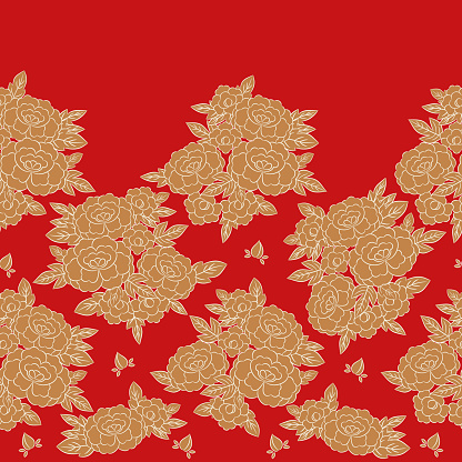 Peony japanese pattern seamless vector. Oriental border red floral background. Vintage gold flower print for dress or skirt fabric