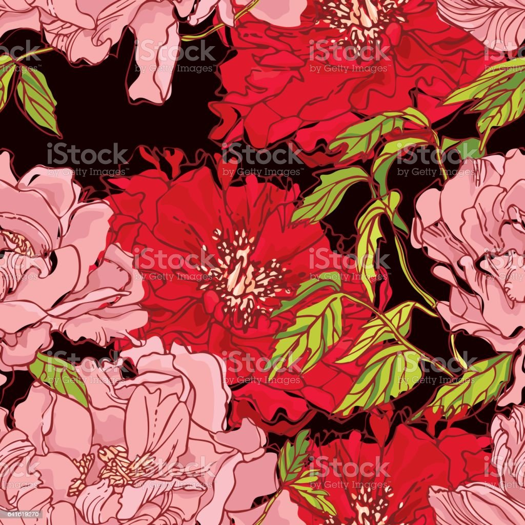 Peony Pattern royalty-free peony pattern stock vector art & more images of black color
