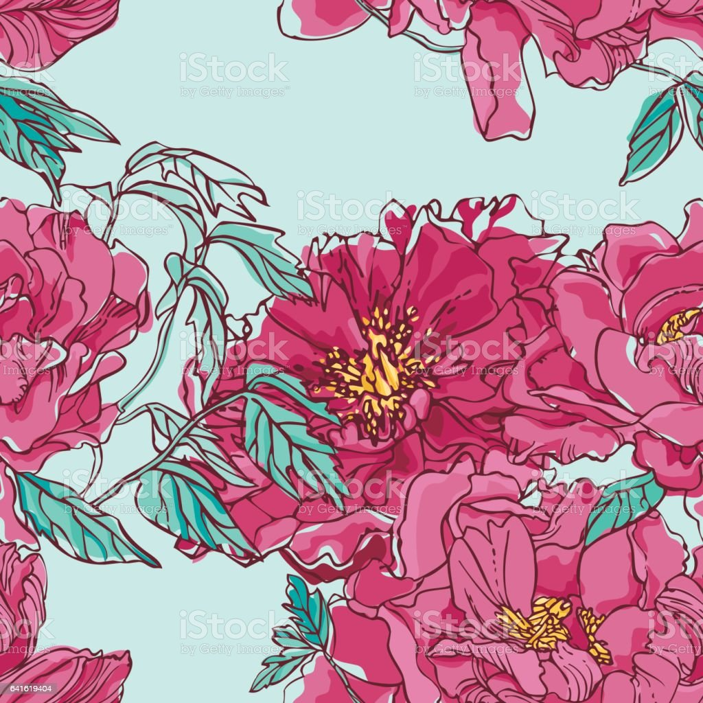 Peony Pattern vector art illustration