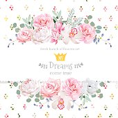 Peony, rose, orchid, camellia, pink flowers and decorative eucaliptus leaves vector design card. Rainbow round confetti backdrop. All elements are isolated and editable.