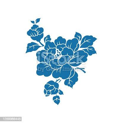 istock Peony(China paper-cut patterns) 1259986445