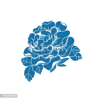 istock Peony(China paper-cut patterns) 1262839784