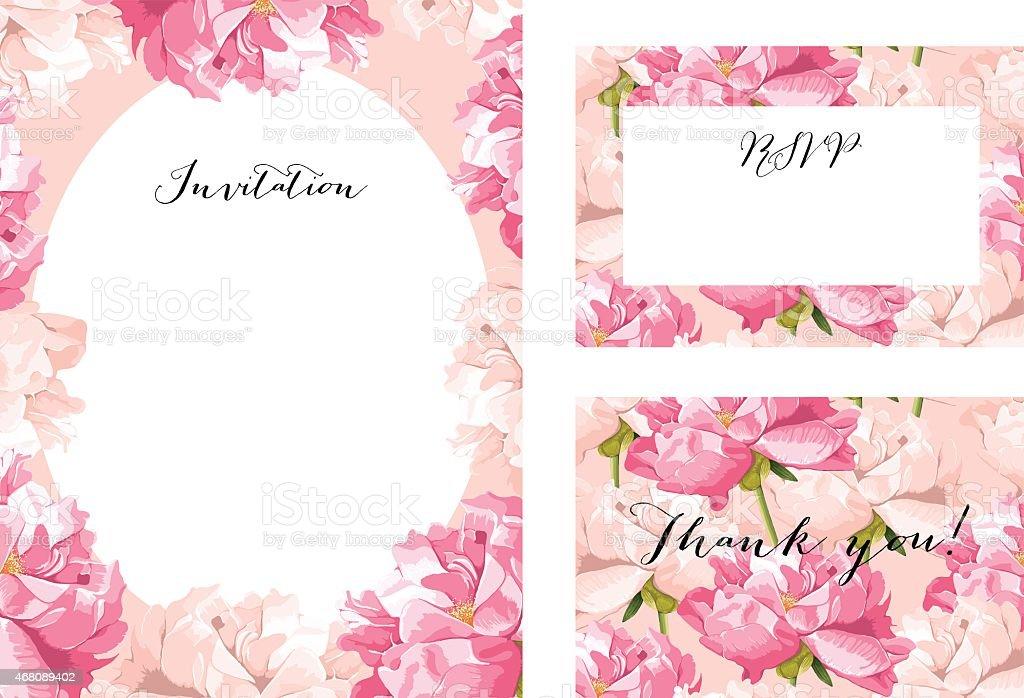 Pfingstrose Hochzeit Einladung Vorlage Set Lizenzfreies Pfingstrose  Hochzeit Einladung Vorlageset Stock Vektor Art Und Mehr