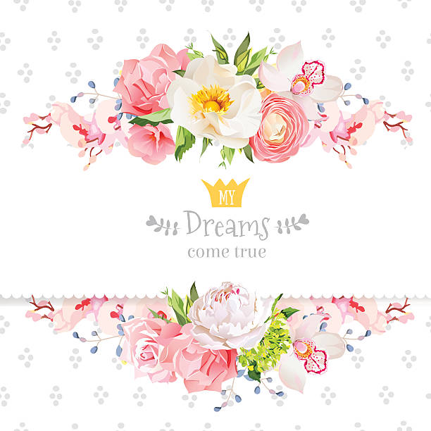Peony, wild rose, orchid, carnation, ranunculus, hydrangea vector design card. Peony, wild rose,  orchid, carnation, ranunculus, hydrangea, blue berries and green leaves vector design card. Speckled round confetti backdrop. All elements are isolated and editable. wild rose stock illustrations