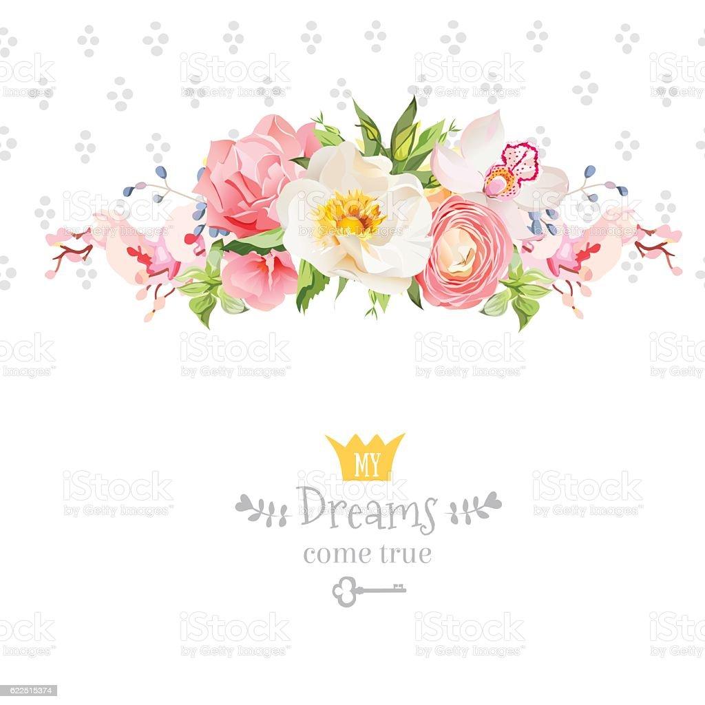 Peony, wild rose, orchid, carnation, ranunculus, hydrangea vector design card - illustrazione arte vettoriale