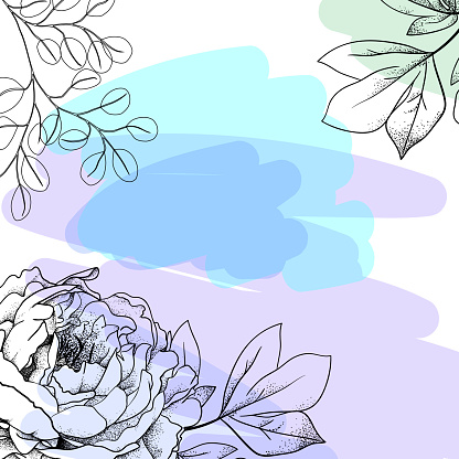 peony with leaves on a colored background. For cover, social media, card. Hand drawn.