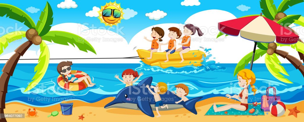 People a the Beach in Summer - Royalty-free Activity stock vector
