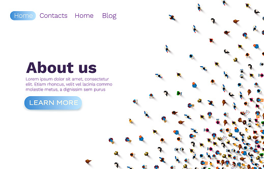 People about us web banner, social communication, work team. Vector