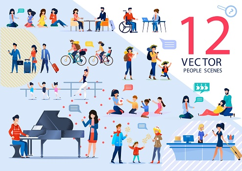 People Active Life and Relationships Vector Scenes