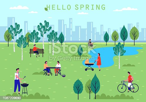 Spring park with lake and birch trees. Woman with stroller or baby carriage, man on bench and lady at picnic, male with bicycle. Holiday and recreation, people activity or leisure at public park theme